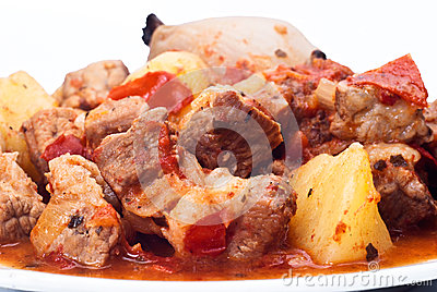Beef stew, potatoes and onion