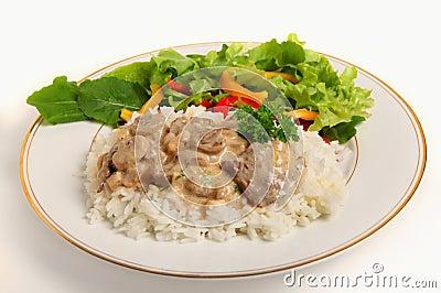 Beef stroganoff with salad