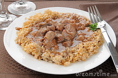 Beef tips and brown rice