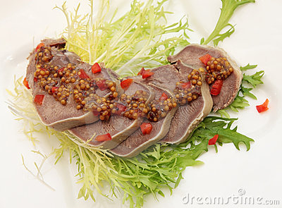 Beef Tongue with the mustard sauce