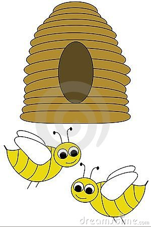 Beehive and bees