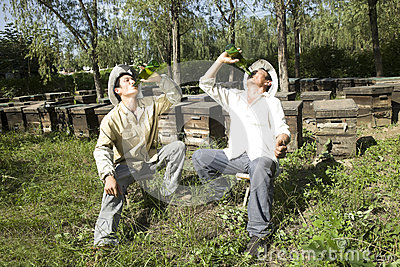 Beekeepers drinking beer