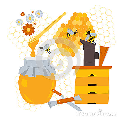 Beekeeping concept with products and equipment Vector Illustration