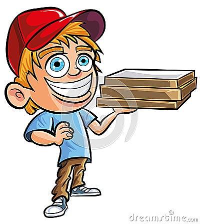 Beeldverhaal van de leuke jongen van de Pizzalevering