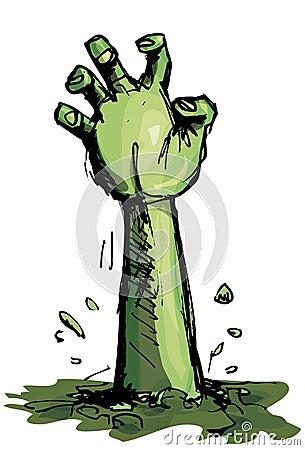 Beeldverhaal van een groene zombiehand