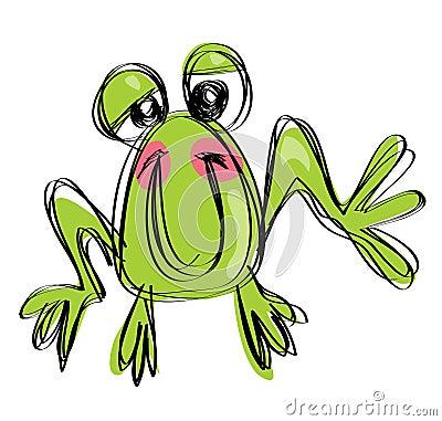 Beeldverhaalbaby het glimlachen kikker in een stijl van de naif kinderachtige tekening
