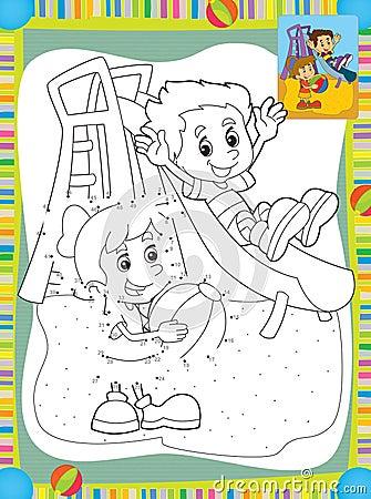 Beeldverhaaljonge geitjes die op de dia spelen - illustratie voor de kinderen