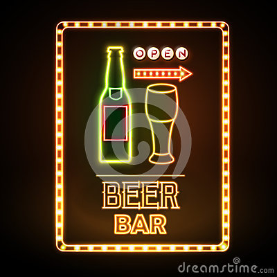 Free Beer Bar Neon Sign Royalty Free Stock Image - 73070666