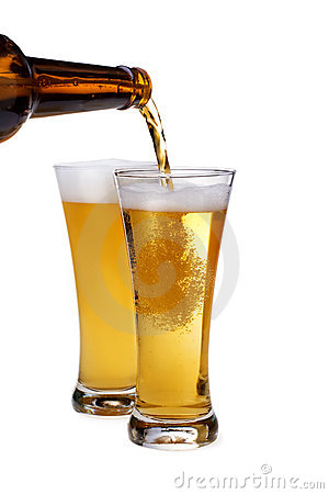Beer being pour on a glass