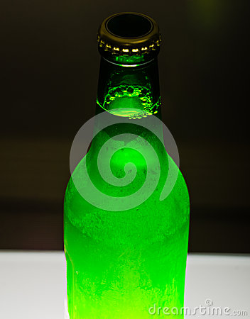 Beer bottle on bar table