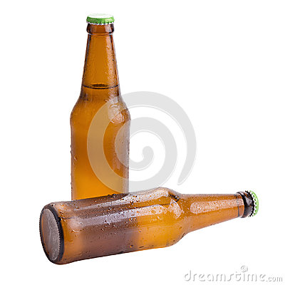 Free Beer Bottle Brown Isolated On White Background. Royalty Free Stock Photo - 95560475