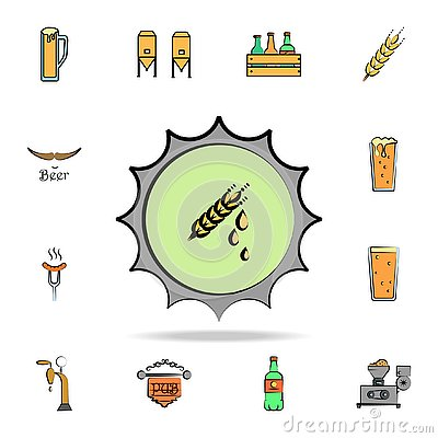 beer bottle cap colored sketch style icon. Detailed set of color beer in hand drawn style icons. Premium graphic design. One of Stock Photo