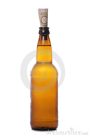 Beer bottle with money