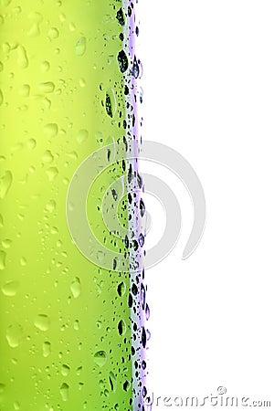 Beer bottle side macro isolated