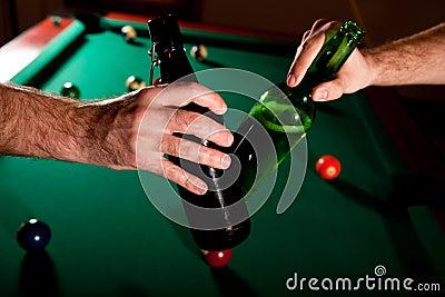Beer bottles clinked at snooker