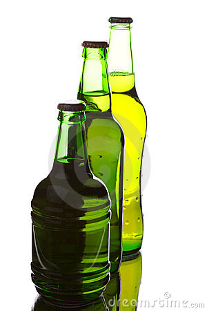 Beer bottles of different shapes