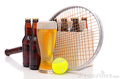Beer Bottles with Tennis Racket and Ball