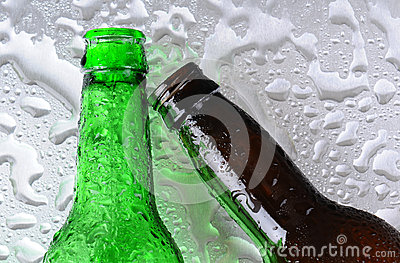 Beer Bottles on Wet Surface