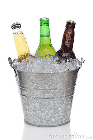 Beer Bucket With Three Beers Royalty Free Stock Photo