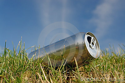 Beer can in the grass