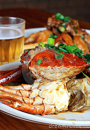 Beer and crab