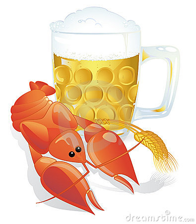Beer with crayfish snack