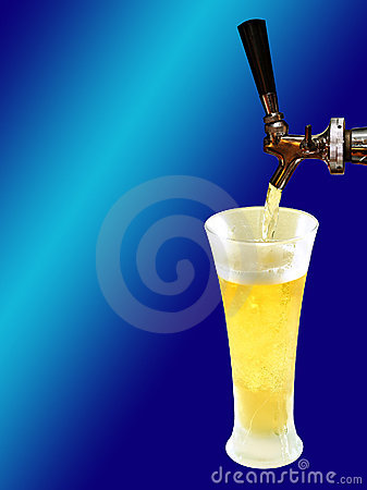 Beer draft and frozen glass on gradient blue