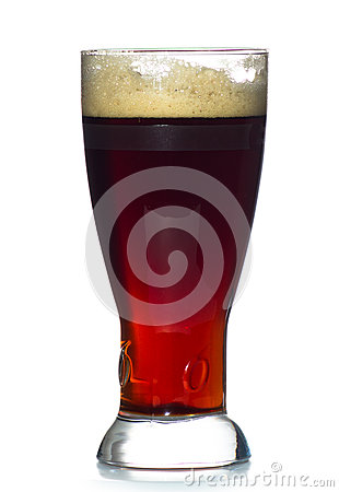 Beer glass full of cold red ale