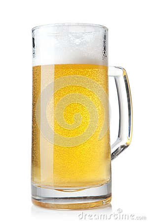 Beer into glass on a white background