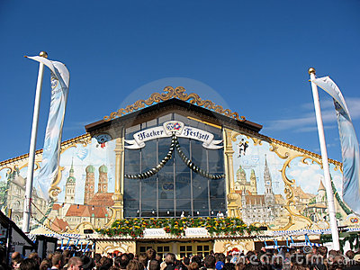 Beer Hall at Oktoberfest Festival Editorial Photo