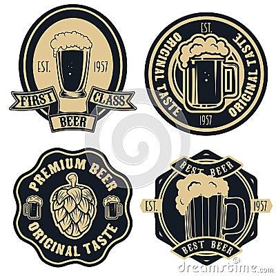 Free Beer Labels. Vintage Craft Beer Retro Design Elements, Emblems, Royalty Free Stock Image - 77231396