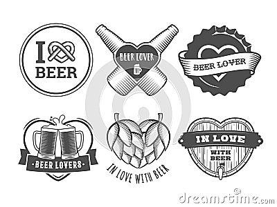 Beer lover badges. Vector Illustration