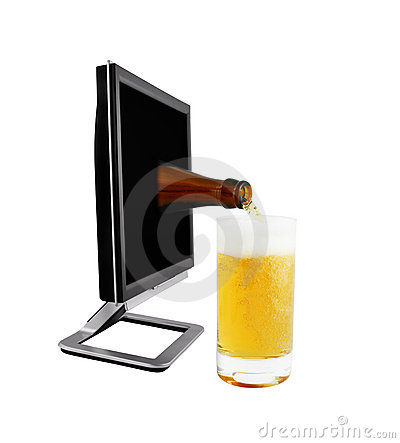 Beer from monitor being pour on a glass