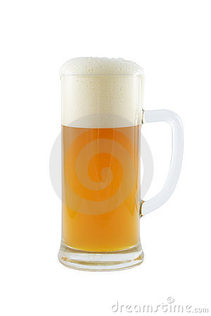 Beer mug with beer isolated on white.