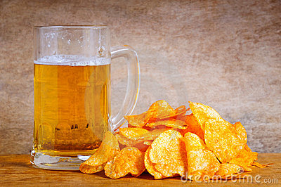 Beer mug and chips