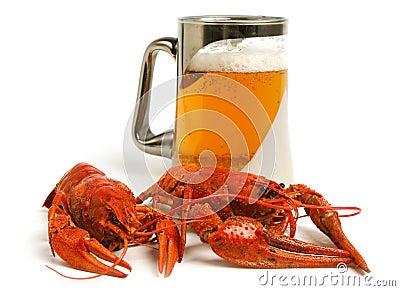 Beer mug with crawfishes