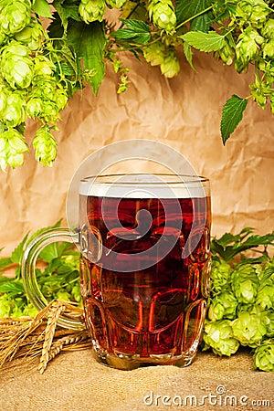 Beer mug with hop and wheat