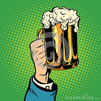 Free Beer Mug In Hand, Pop Art Retro Stock Image - 72806461
