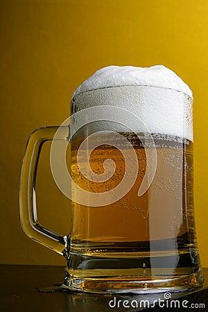 Free Beer Mug Over Yellow Stock Image - 4048791