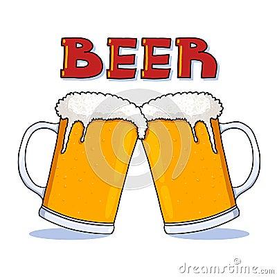 Beer mugs illustration