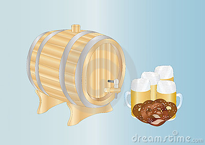 Beer mugs and barrel