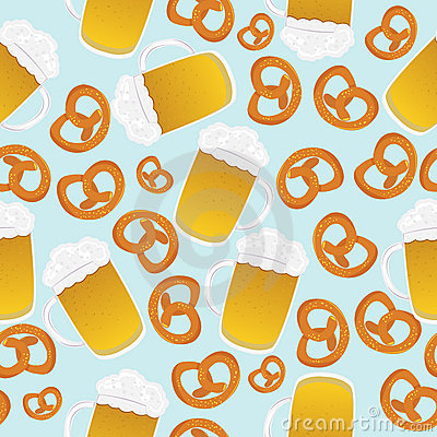 Beer mugs and pretzels
