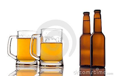 Beer mugs and two bottles of beer
