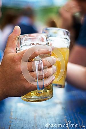 Beer on the oktoberfest Stock Photo