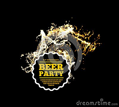 Free Beer Party. Splash Of Beer With Bubbles. Vector Illustration Stock Photos - 107814133