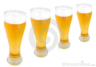 Beer pints in a row