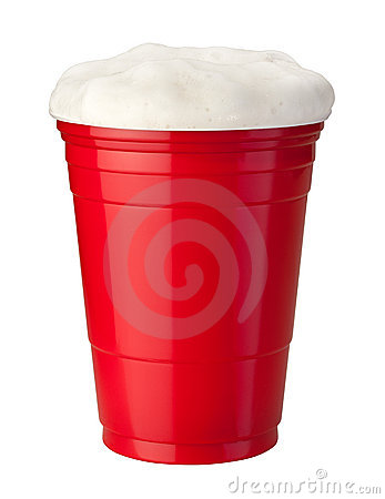 Beer in Plastic Cup isolated