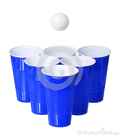 Free Beer Pong. Blue Plastic Cups And Ping Pong Ball Isolated On White Royalty Free Stock Photography - 33265757