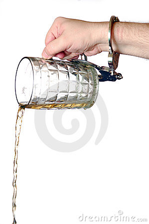 Beer pouring out