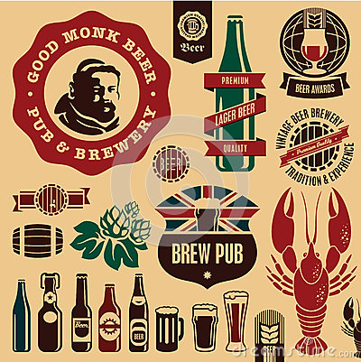 Free Beer Pub Labels Royalty Free Stock Image - 27629346